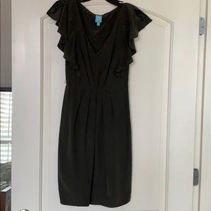 charcoal grey silk dress - xs